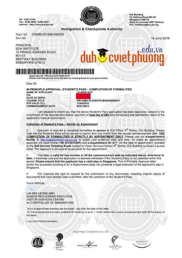 Chúc mừng bạn Lê Minh Đức đạt visa du học Singapore