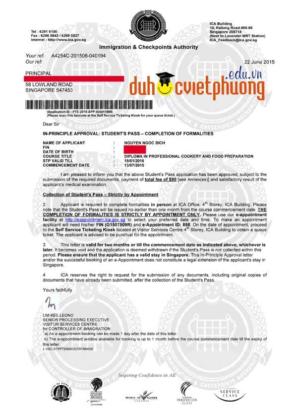 Chúc mừng bạn Ngọc Bích đạt visa du học Singapore