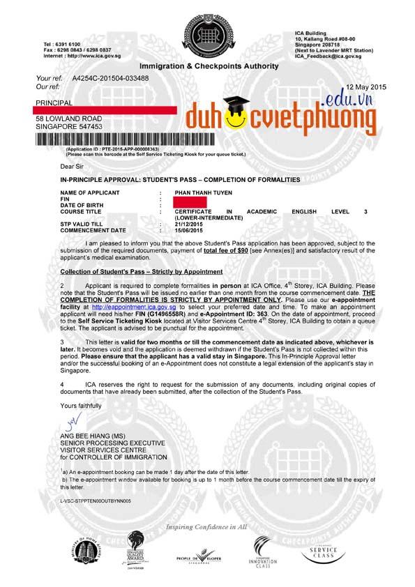 Chúc mừng bạn Phan Thanh Tuyền đạt visa du học Singapore