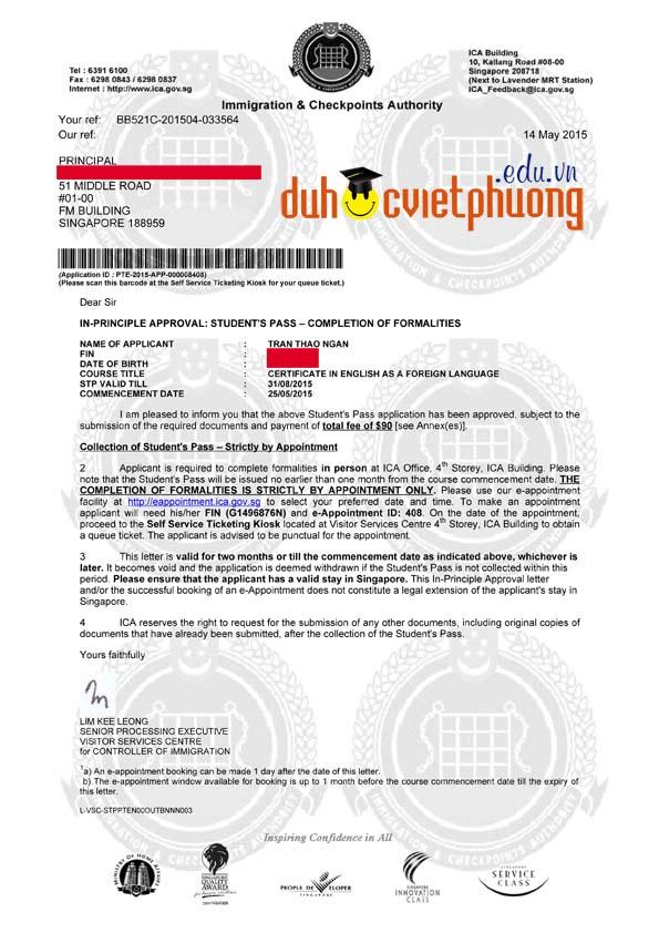 Chúc mừng bạn Trần Thảo Ngân đạt visa du học Singapore