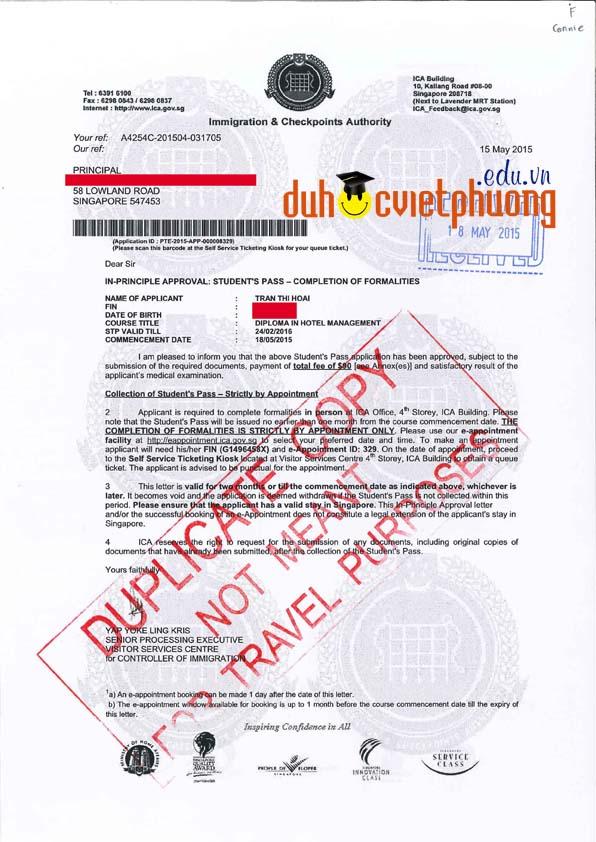Chúc mừng bạn Trần Thị Hoài đạt visa du học Singapore