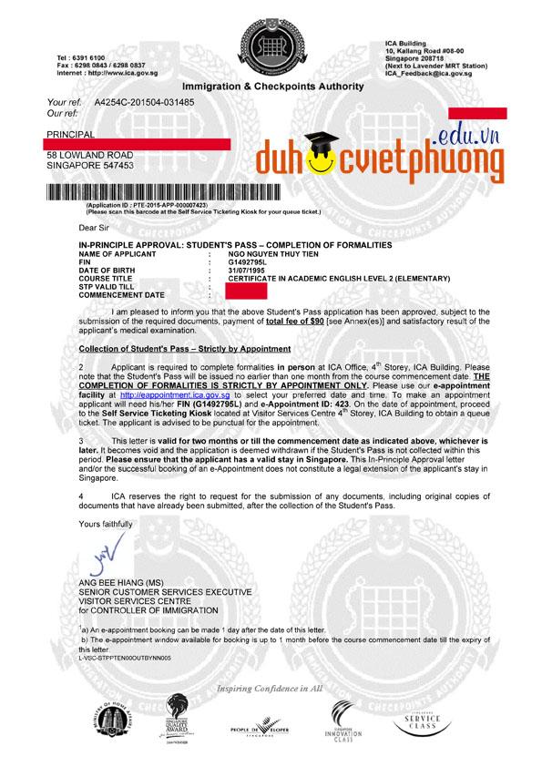 Chúc mừng ban Ngô Nguyễn Thủy Tiên đạt visa du học Singapore