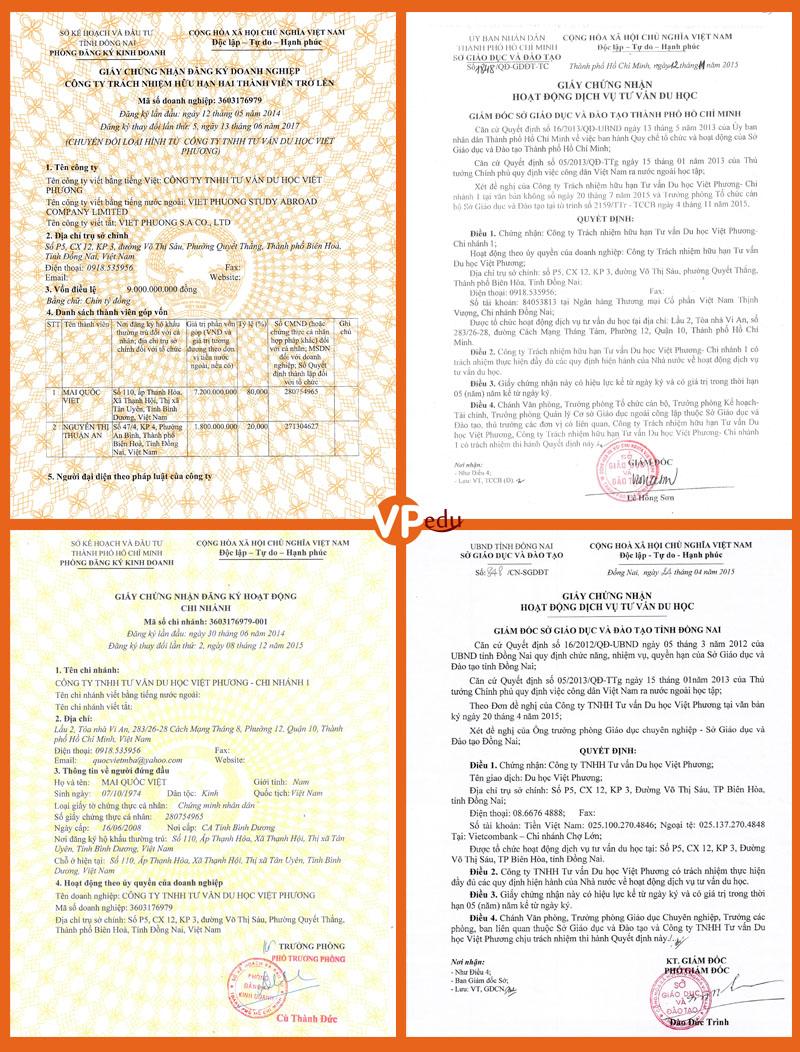 Tư vấn Du học Việt Phương là đơn vị có đầy đủ tính pháp lý