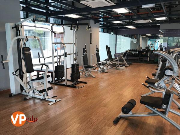 Phòng tập gym với đầy đủ trang thiết bị