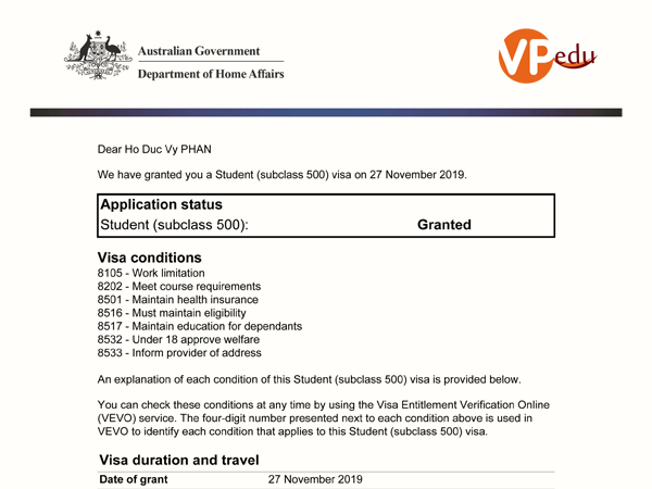 Chúc Mừng Bạn Phan Hồ Đức Vy Đậu Visa Du Học Úc