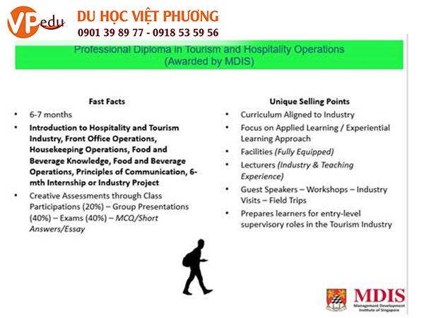 Chương trình đào tạo ngành quản lý du lịch nhà hàng khách sạn tại học viện MDIS