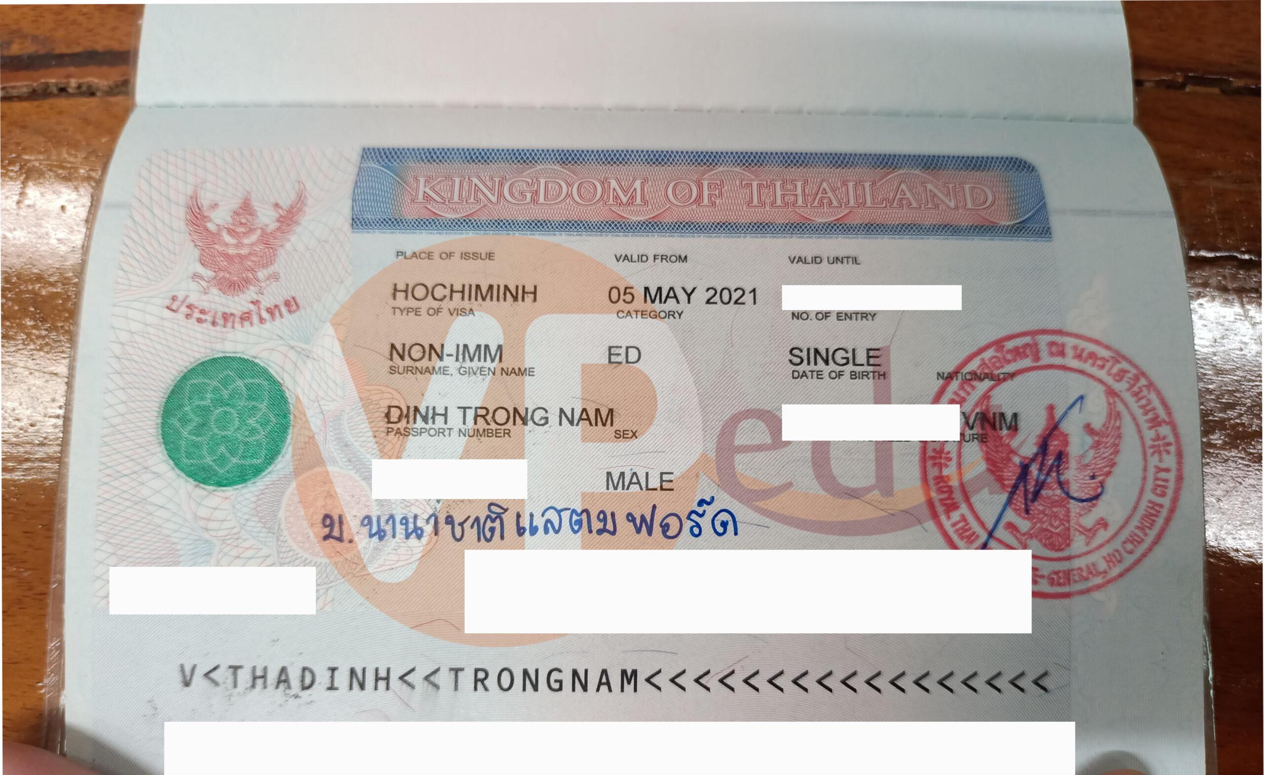 Visa Du học Thái Lan của bạn Trọng Nam