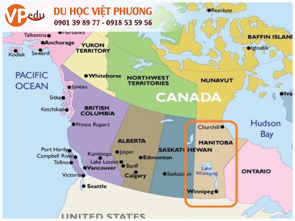 Vị trí địa lý của bang Manitoba